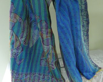 Vintage silk Kantha, FREE SHIPPING, wrap, large silk scarf, reversible, turquoise and blue, table runner, home decor, furniture cover