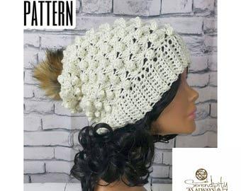 Slouchy Beanie Crochet Pattern   Slouch Beanie Pattern   Puff Beanie   Crochet Pattern Women's Slouch Hat   Slouchy Hat Pattern   PDF