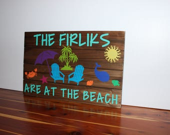 Personalized Hanging Wood Beach Sign