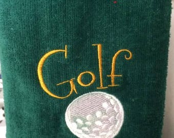 Golf towel with embroidery embellishment.