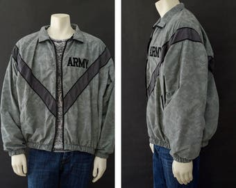 Camouflage Army Jacket,  Gray Army Windbreaker Jacket, Digital Camouflage Jacket, IPFU Jacket, Size Men's Large Regular, 90s Windbreaker
