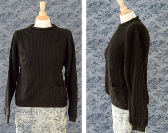 80s Black Knit Sweater, 80s Crochet Sweater, 90s Grunge,  Pull Over Sweater w/ Pocket NWT, Vintage Deadstock Sweater,  Women's Size Medium