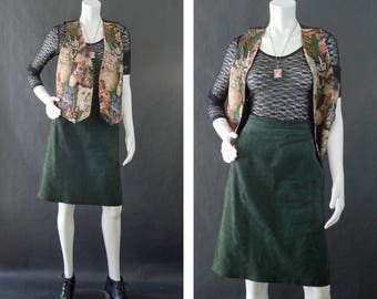 Vintage Leather Skirt, Green Suede Skirt, 80s Leather Skirt, High Waisted Skirt, Bagatelle Pencil Skirt, Real Leather Skirt Women's Size 14