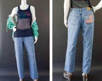 Vintage Denim Jeans, 90s Tommy Hilfiger Us Flag Jeans, Spell Out Jeans, Boyfrriend Jeans, Vintage Tommy, Cotton Denim Pants, Women's Size 10