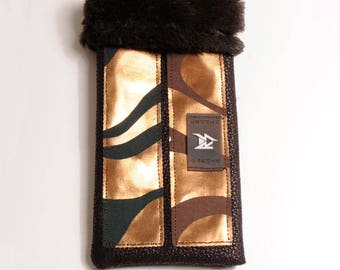 Brown Bag faux leather with faux fur satin