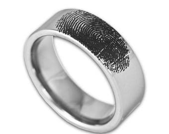 FLASH SALE Custom Engraved Fingerprint Wedding Band Mens 8MM Tungsten Pipe Cut Ring