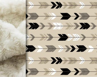 PERSONALIZED Arrows Baby blanket, Minky blanket, Tan Beige Gray woodland blanket feathers arrows blanket baby shower gift throw blanket