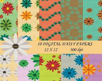 Daisy Digital Papers, Summer Digital Paper, Flower Digital Paper, Floral Paper, Scrapbook Paper