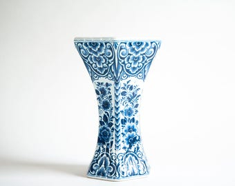 Authentic Delft Vase Vintage Blue and White Delft Vase Delftware Hand-painted Blue White Pottery Holland Netherlands