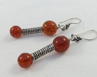Sterling Silver Amber Glass Beads Dangle Earrings
