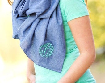 CHAMBRAY SCARF, Monogrammed Chambray Scarf, Personalized Scarf, Monogrammed Scarf, Bridesmaid gift, Monogrammed gifts, Christmas gifts