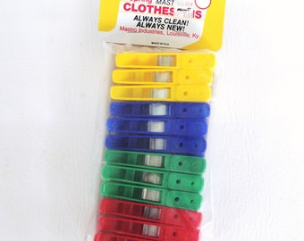 ON SALE Vintage Plastic Clothes Pins Metal Spring Clothespins Laundry Room Clothesline Hanging Clothes Crafting Decor Primary Colors
