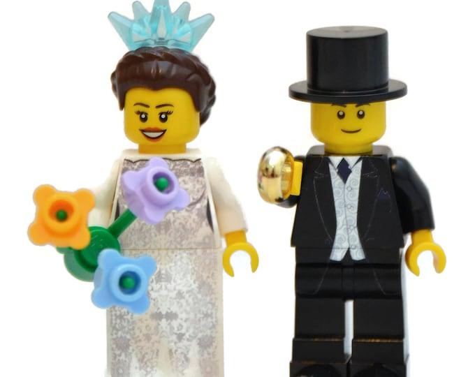 Featured listing image: Custom Lego Minifigure Bridal Couple  V1 ~ Wedding Lego ~ Bride & Groom Custom Lego ~ Lego Wedding Couple