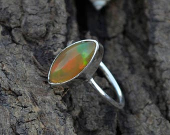 Natural Ethiopian Welo Opal Gemstone Ring, Bezel Ring, 925 Sterling Silver Ring, Marquise Opal Ring, October Birthstone, Gift For Love