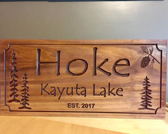 Lake Signs, Wooden Carved Signs, Cottage decor, Cabin Signs, Pine Tree, Pine cone, Custom carved Sign, Outdoor Wood Sign, Personalized Sign