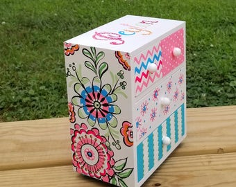 Girls Jewelry Box Personalized Multi Color Flower Girl Gift  Whimsical  Flowers