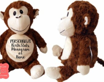 Monkey cubbie etsy personalized monkey stuffed animal personalized baby gift birth announcement gift baby shower gift negle Image collections