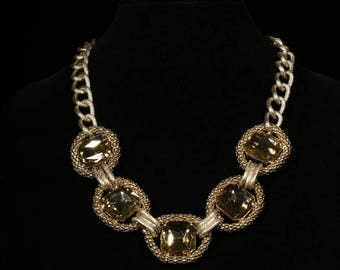 Vintage Gold Colored Seed Beads,Chain and Rhinstone Necklace