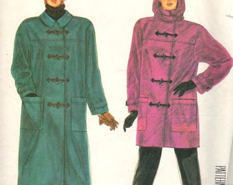 "McCalls 2757, Sz 14-16/Med/Bust 36-38"". EASY LadiesUnlined Winter Coat/Duffle Toggle Jacket with Detachable Hood, UNCUT Vintage 80s pattern"