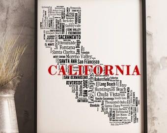 California Map Etsy - City map of california