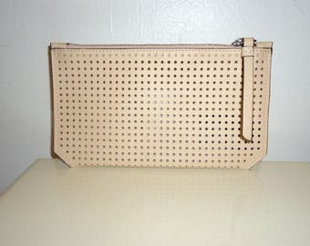 Beautiful Large Leather Perforated Pouch/Accessory Case