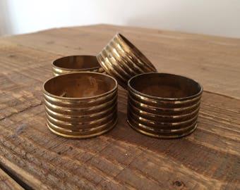 Set of 4 Ribbed Brass Napkin Rings