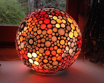 To order. A new lamp ball in ethnic style in orange and grey.