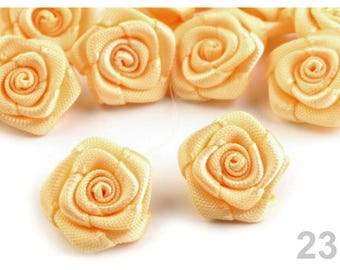 10 small flowers Yellow Sun satin 15 mm