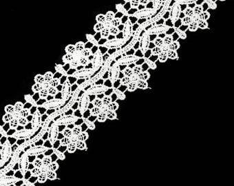 White guipure lace point 50 mm Venetian lace