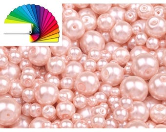 100g Imitation Pearl Beads mix of sizes approx. Ø4-12 mm