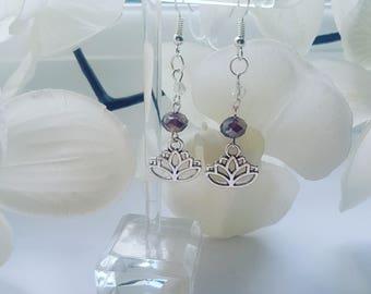Silver Plated Lotus Flower Drop Earrings