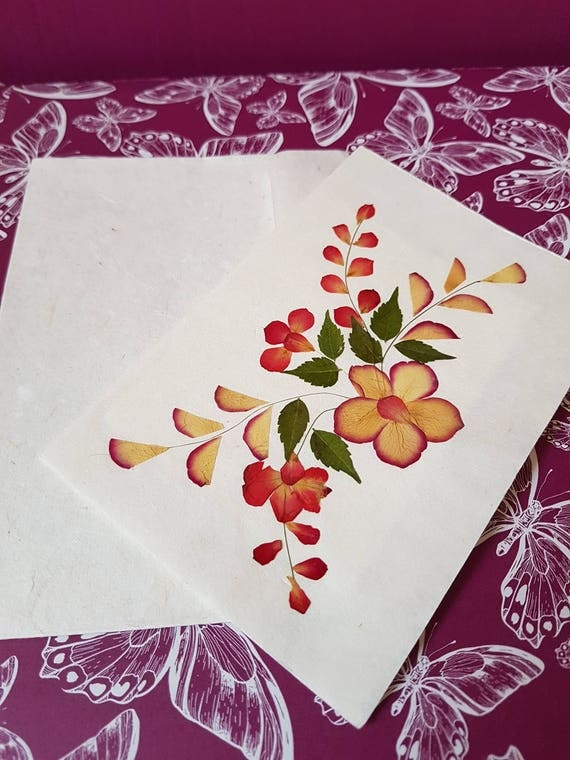 Handmade blank pressed flower floral card