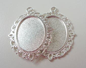 2 - Silver Plated Cabochon Base Settings