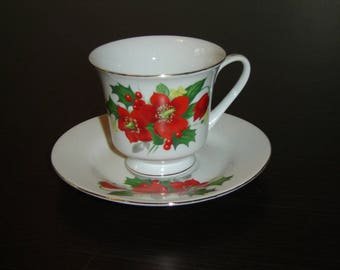 ST China Holly cup and saucer VGU