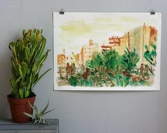 HIGH LINE NYC - New York City Original Watercolor Painting - 11x15 Whitney Manhattan Urban Illustration -