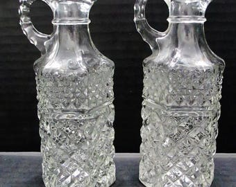 Anchor Hocking Pair of Cruets Vintage Wexford Clear Pressed Glass No Stoppers