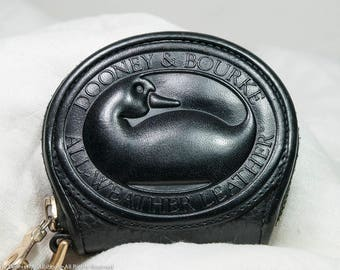 Dooney Big Duck coin purse, black leather zipalong round change purse, black D&B wallet, Vintage Dooney W53 wallet, gifts for her, or you!