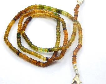 19 Inch petrol tourmaline beads strand 41.65 cts Faceted 3 mm Roundels beads AAA finest quality at best price