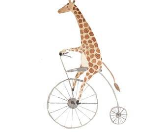 Giraffe on a Bike Print