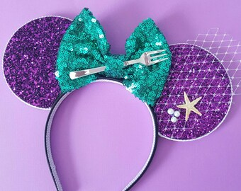 Mermaid Mouse Ears Headband | Minnie Mouse Birthday |Mermaid Headband Minnie Ears | Dinglehopper Mouse Ears| Ariel Mouse Ears | Mermaid Ears