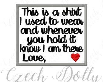 """CUSTOM This is a shirt I used to wear Love """"custom name"""" w/ Heart Iron On or Sew On Patch Memorial Memory Patch for Shirt Pillows Embroidery"""