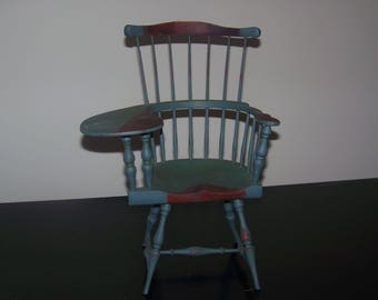 Early 20th Century Miniature Green&Blue Model Chair
