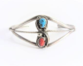 Vintage Sterling Navajo Coral Turquoise Cuff Bracelet