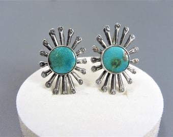 Vintage Southwestern Sterling Turquoise Earrings Screw On