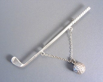 Vintage Beau Sterling Golf Brooch, Club and Dangle Chain Golf Ball