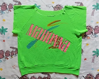 Vintage 80's Madonna Boy Toy off the shoulder short sleeve Sweatshirt, size Medium 1985 bright neon Super Rare!