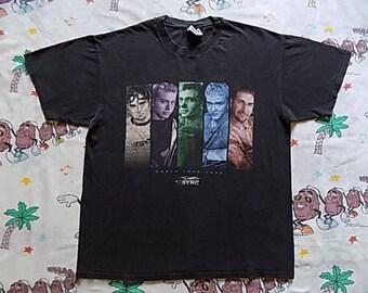 Vintage 90's NSYNC World Tour 1998 T shirt, size Large pop Boy Band concert tee