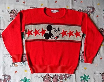 Vintage 80's Mickey Mouse Cliff Engle Sweater, size Medium USA made Disney knit