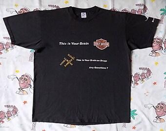 Vintage 90's Harley Davidson 1991 Sturgis T shirt, size XL Black Hills Classic brain on drugs