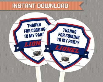 Ice Hockey Party Favor Tags - Hockey Party Thank You Tags - Hockey Birthday - INSTANT DOWNLOAD - Edit and print at home with Adobe Reader